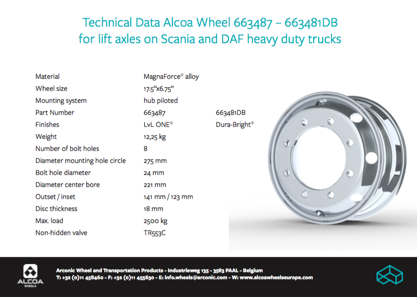 "Alcoa® Wheels – 6.75X17.5"" Scania/DAF Lift Axle Wheel"